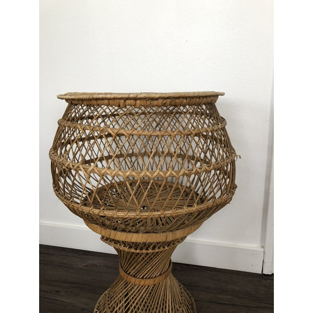 Boho Chic Vintage 1970's Natural Woven Wicker Rattan Boho Planter For Sale - Image 3 of 8