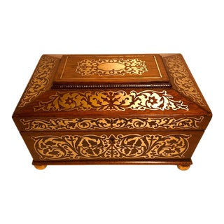 Early 19thC Regency English Boulle Inlaid Rosewood Box For Sale