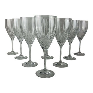Vintage Royal Doulton Clear Cut Crystal Water Goblets Stems Stemware Marked - Set of 8 For Sale