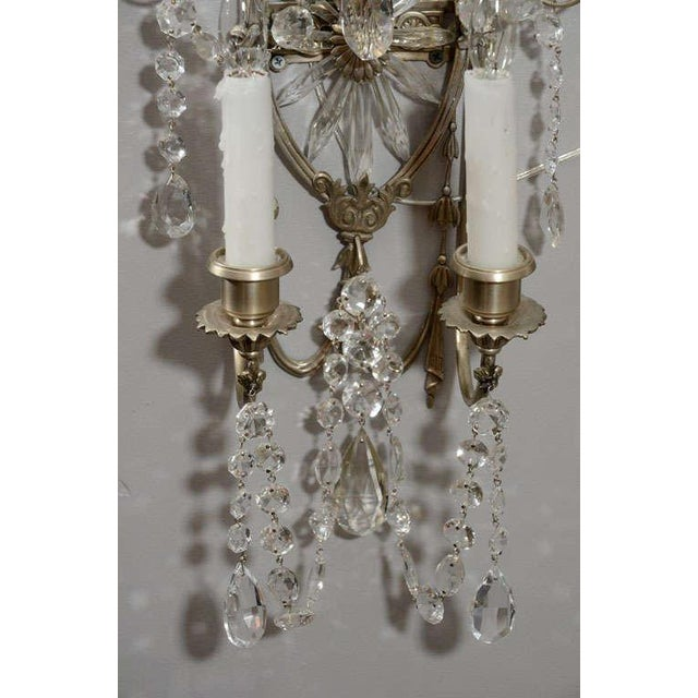 Pair of 19th Century Silver Leaf and Crystal Sconces For Sale In New York - Image 6 of 8