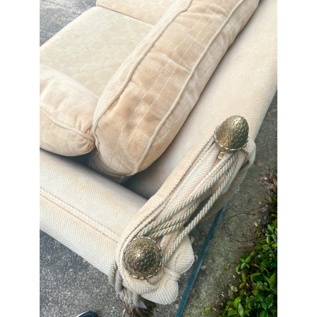 Vintage French Ivory Velvet Canapé Sofa With Adjustable Arms and Brass Finials For Sale - Image 10 of 13