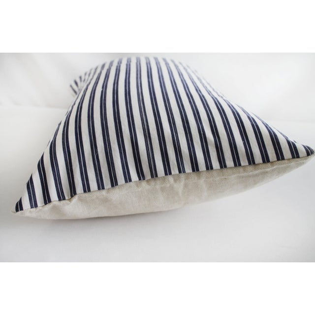 Vintage Navy Blue and White French Ticking Stripe Lumbar Pillow For Sale In Los Angeles - Image 6 of 7