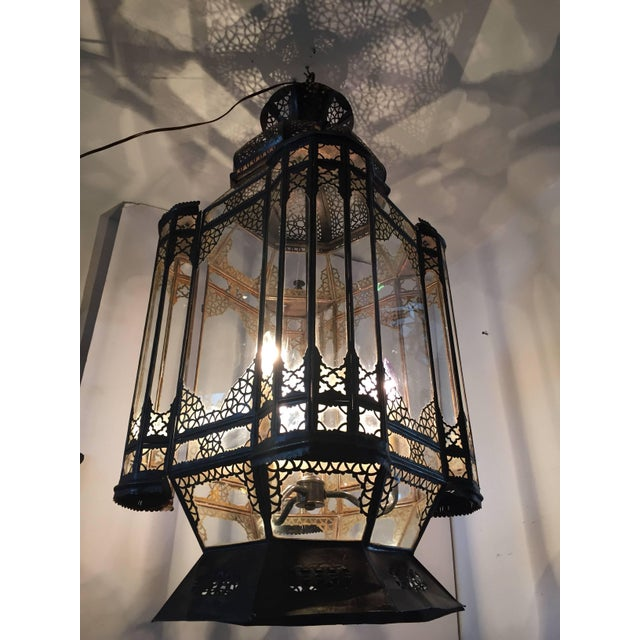 Large Vintage Moroccan Moorish Glass Light Fixture For Sale In Los Angeles - Image 6 of 10