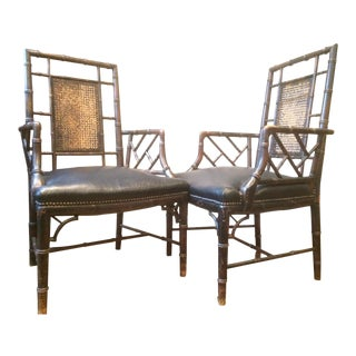 Vintage Mid Century Hollywood Regency Faux Bamboo Arm Chairs - A Pair For Sale