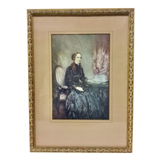 Antique Print of Woman Sitting, Framed For Sale