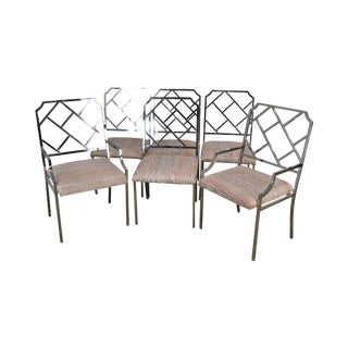 Milo Baughman Mid Century Modern Set 6 Chrome Chippendale Influenced Dining Chairs For Sale