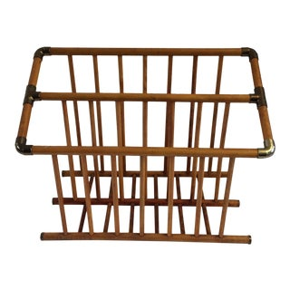 1970s Mid-Century Modern Wood and Copper Magazine Rack For Sale