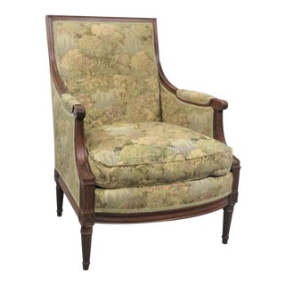 Louis XVI Style Walnut Bergere Chair For Sale