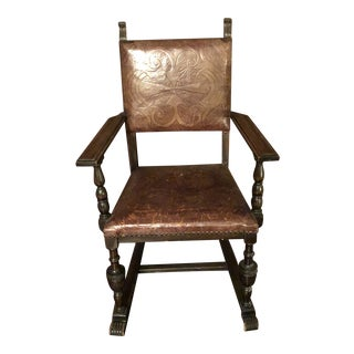 Leather and Wood Chair For Sale