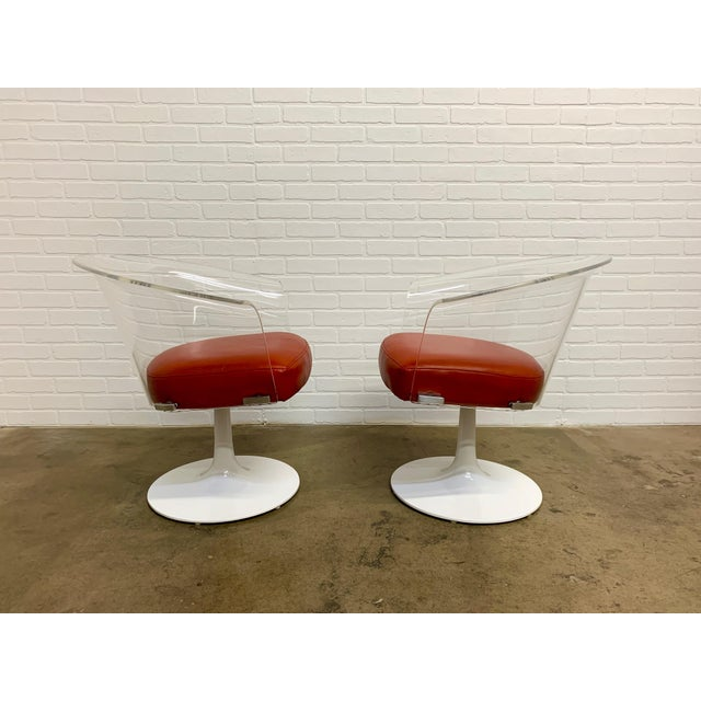 Mid-Century Modern Lucite and Leather Space Age Chairs For Sale - Image 3 of 12