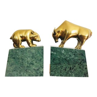 Vintage Brass Bear and Bull Bookends on Marble Bases For Sale