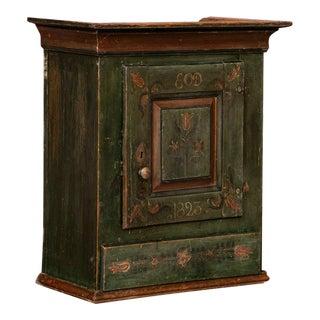 Antique Folk Art Painted Hanging Cabinet For Sale