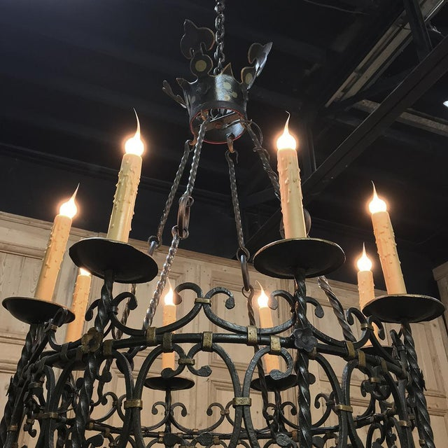 Antique Country French Wrought Iron Chandelier For Sale - Image 4 of 11