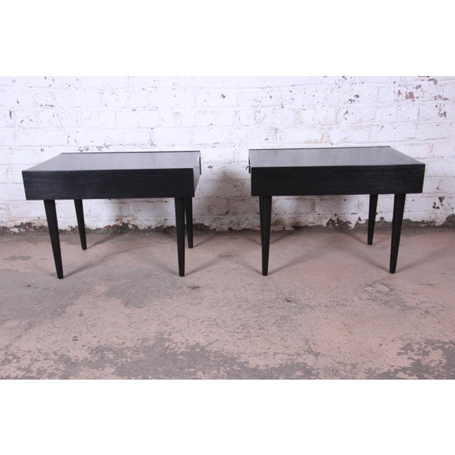 Merton Gershun for American of Martinsville Ebonized End Tables or Nightstands, Pair For Sale - Image 10 of 13