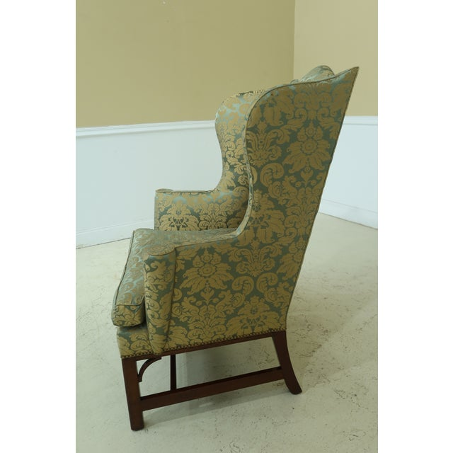 Brown Kittinger Chippendale Mahogany Wing Back Chair For Sale - Image 8 of 13