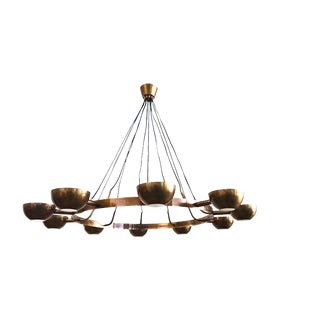 Large Brass Gino Sarfatti Style Chandelier For Sale