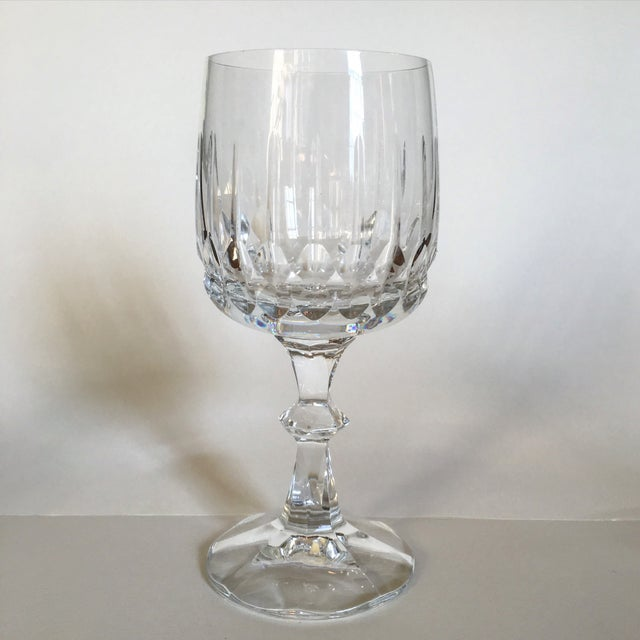 Antique Clear Cut Crystal Wine Goblets - Set of 5 - Image 3 of 4