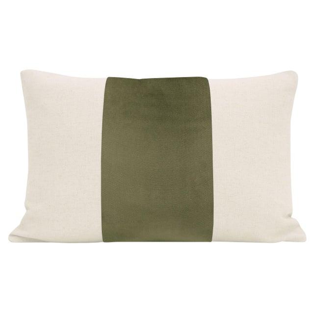 "Pair of beautiful 12"" X 18"" natural linen pillows with a moss green velvet center and solid natural linen reverse...."