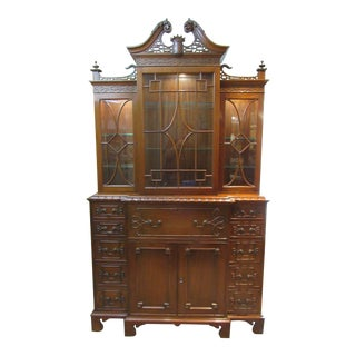Chippendale Mahogany Secretary Bookcase For Sale