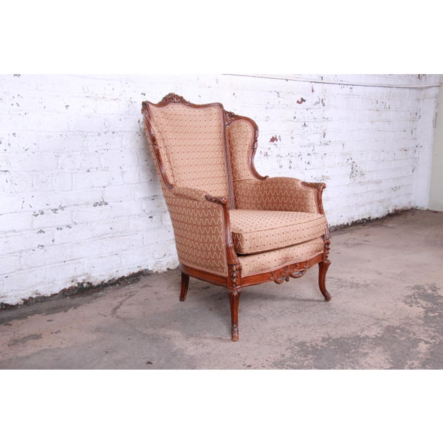Antique French Carved Wing Back Lounge Chair For Sale - Image 4 of 13