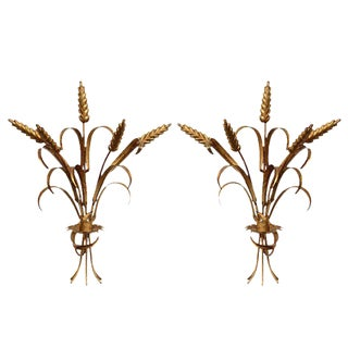 Pair of Sheaf of Wheat Wall Sconces