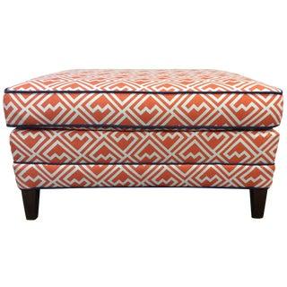 Vintage Orange & White Ottoman