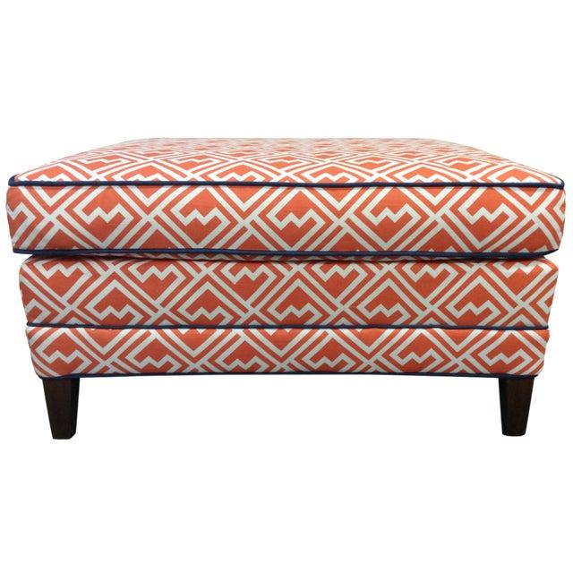 Vintage Orange & White Ottoman For Sale