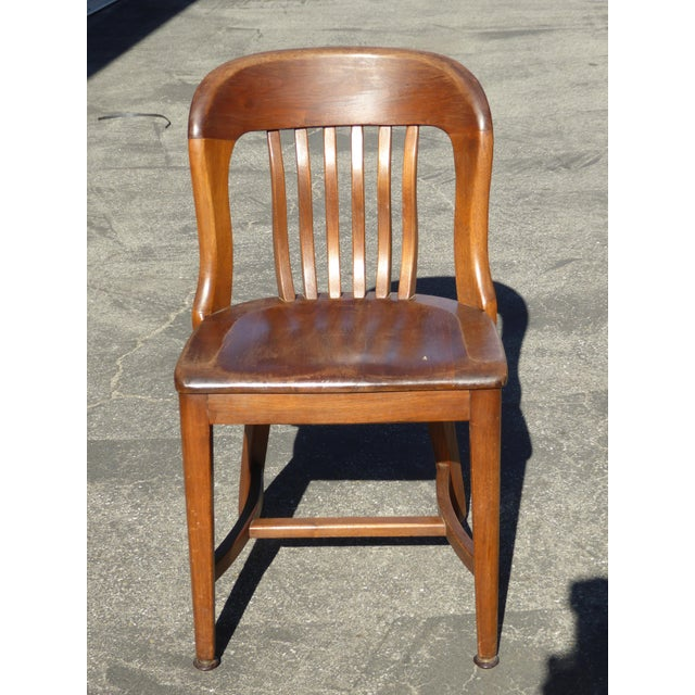 Set of 4 Vintage Mid-Century Brown Solid Wood Farmhouse Chic Library School House Chairs - Image 5 of 11