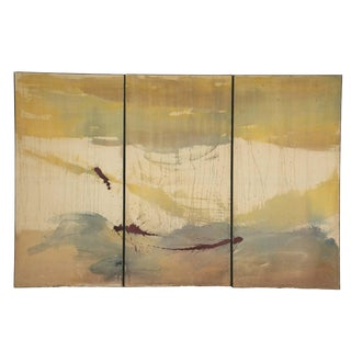 Large Tri-Part Oil on Canvas Painting in the Manner of Helen Frankenthaler