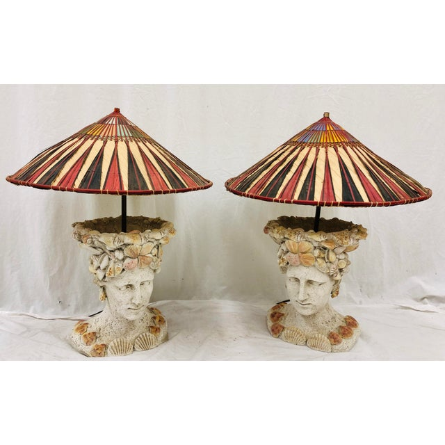 Stunning Vintage Seashell Adorned Female Busts, Turned into Table Lamps. Sure to add unique interest to any Eclectic...