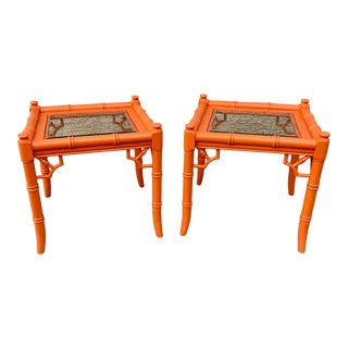 Thomasville Palm Beach Regency Side Tables in Orange Lacquer - a Pair For Sale
