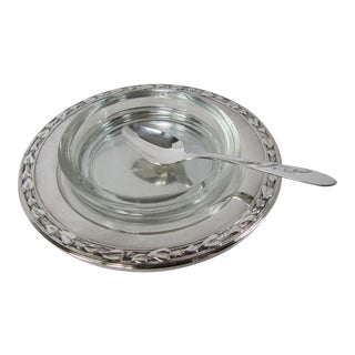 Silverplate & Glass Jelly Dish With Spoon For Sale