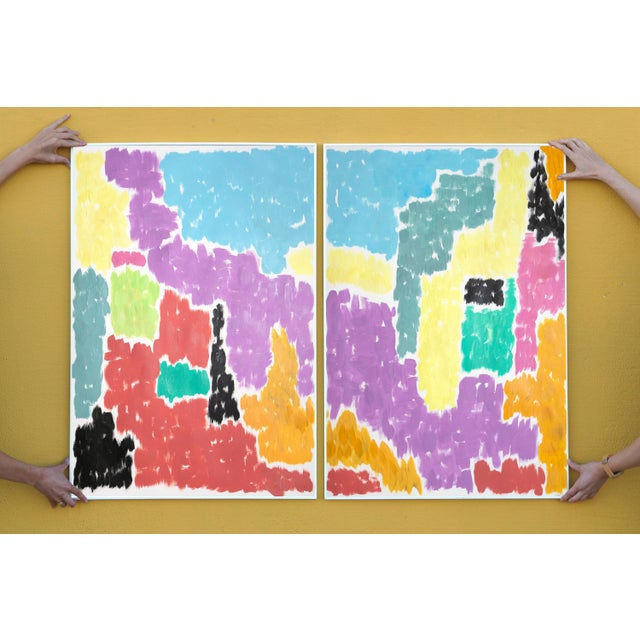 Leaving the City Diptych Abstract Shapes Cityscape Painting by Natalia Roman For Sale In Miami - Image 6 of 12