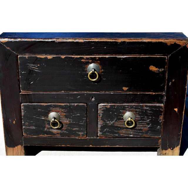 Mid 19th Century Antique Small 3 Drawers Heavy Chest For Sale - Image 5 of 13