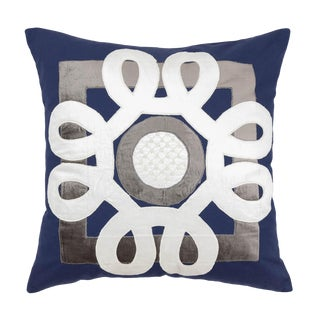 Contemporary Tr Essentials Blue Applique Pillow - 22x22 For Sale