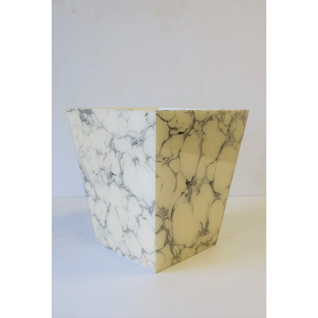 Black and White Marble Style Wastebasket or Trash Can Set For Sale - Image 10 of 13