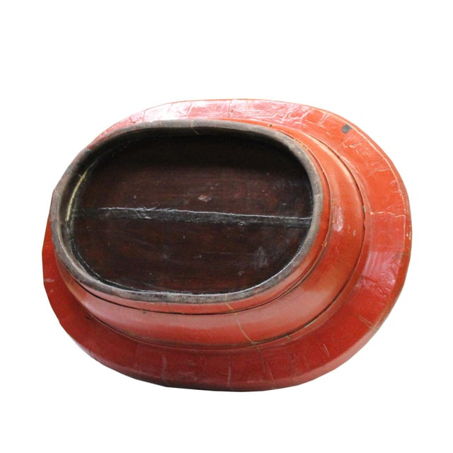 Paint Chinese Vintage Distressed Red Flower Oval Shape Wood Bucket For Sale - Image 7 of 9