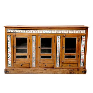 Antique British Colonial Porcelain Tile Sideboard