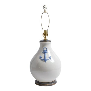 Nautical White Large Ceramic Table Lamp With Blue Anchor Detail For Sale