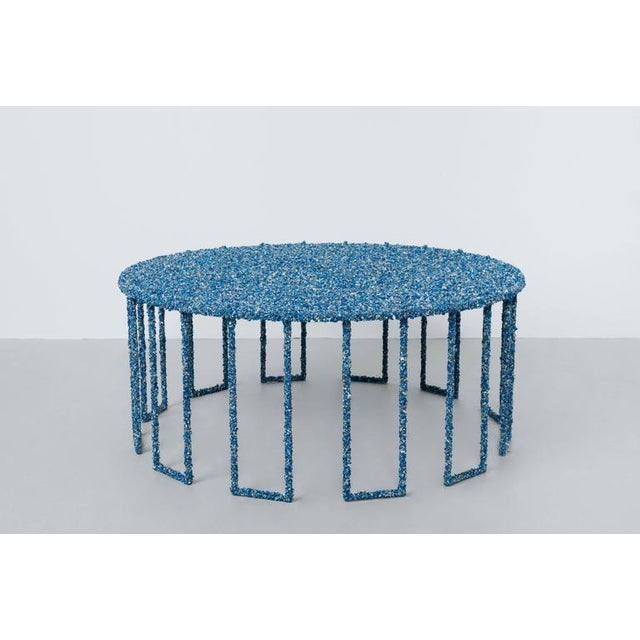Contemporary Hand Made Crushed Lapis Lazuli Coffee Table, by Samuel Amoia For Sale - Image 3 of 7