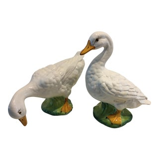 Italian Hand Painted Geese - a Pair For Sale