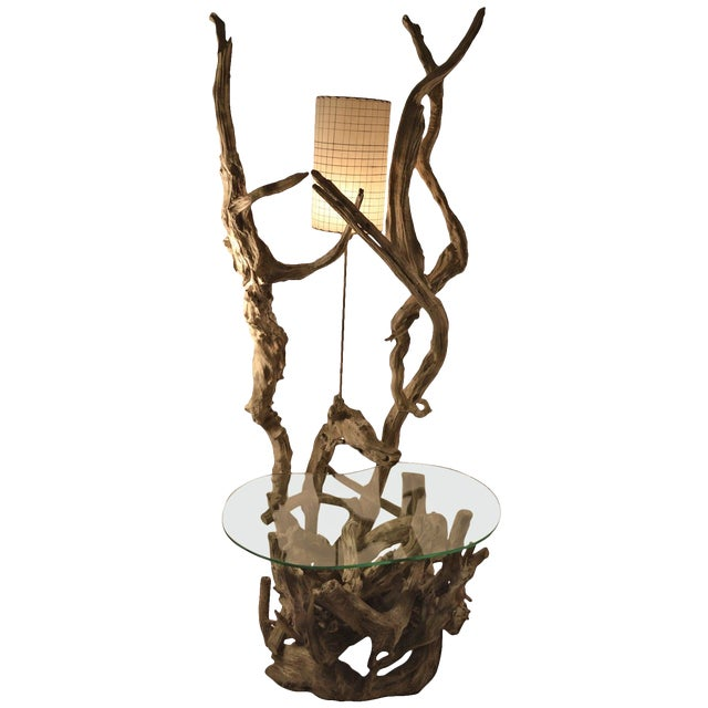 Large Driftwood Lamp Table or Floor Lamp For Sale