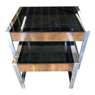 1960s Mid Century Modern Walnut Veneer & Chrome Nesting Tables - 2 Pieces For Sale