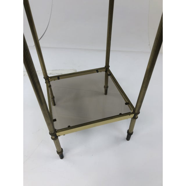 Mid Century Brass Two Tier Glass Side Table For Sale - Image 6 of 13