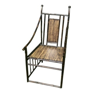 Late 20th Century Black Bamboo Chair For Sale