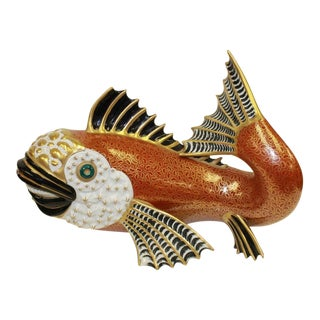 Mid-Century Oggetti Mangani Porcelain Red Fish Sculpture