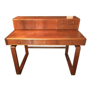 Vintage D-Scan Solid Teak Desk For Sale