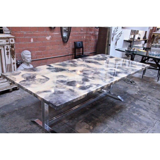 Parchment and Resin Dining Table with Stainless Steel Base For Sale - Image 4 of 9