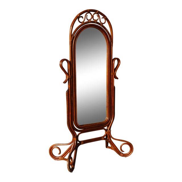 Mid Century Bent Rattan Cheval Mirror - Image 1 of 11