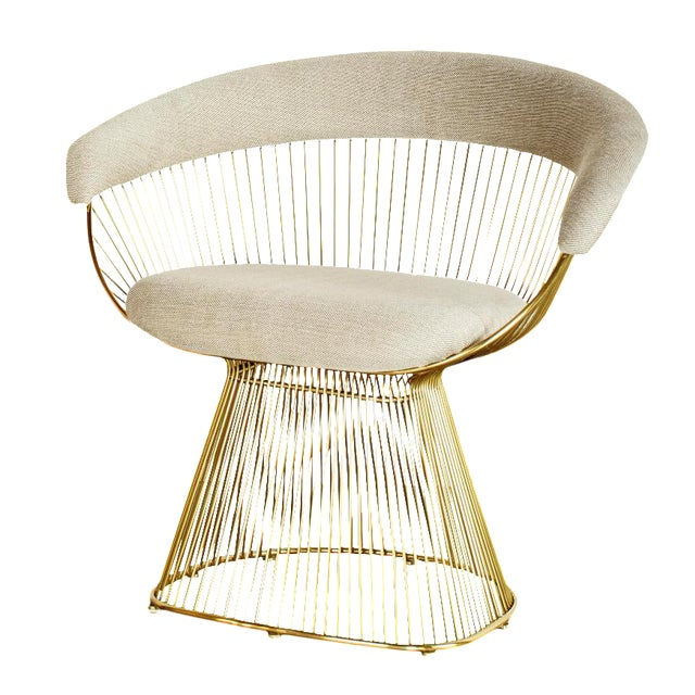 Mid-Century Modern Soleil Gold & Light Gray Accent Chair For Sale